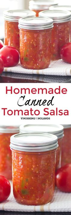 Homemade Canned Tomato Salsa by Noshing With The Nolands captures the fresh flavors of the farmers market that you can enjoy during the winter months!