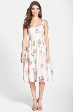 BB Dakota 'Heleen' Floral Print Fit & Flare Midi Dress | Nordstrom