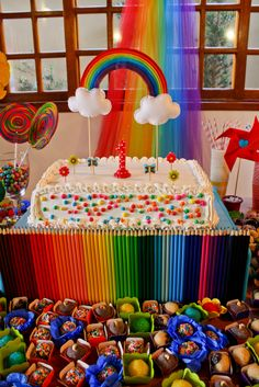 cumple arcoiris cumple china 7 aos Pinterest Rainbow parties