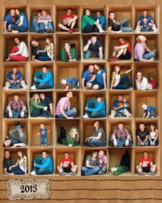 Family posing idea of multiple photos of different family members inside a large cardboard box