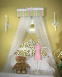 Upholstered Princess Bedroom Crown Canopy Valance FREE Sheers SaLe Stripe Pink Green White. $38.99, via Etsy.