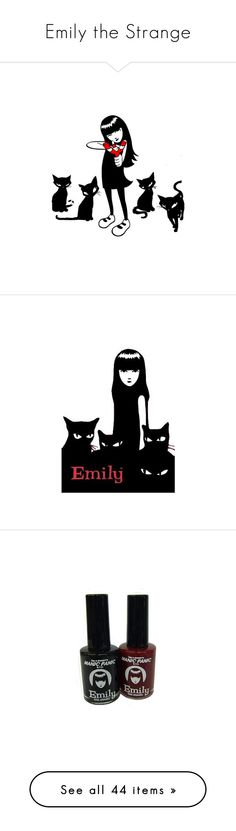 """""""Emily the Strange"""" by zelbot ❤ liked on Polyvore featuring emilythestrange, backgrounds, anime, cartoons, drawings, emily the strange, emily strange, emily, beauty products and nail care"""