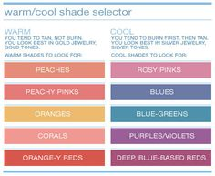 cool or warm undertones to look for make up products, according to skn type