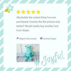 stephscozycreations:: I take so much pride in my work and it feels great to know that my customers also see that.  Feeling so #joyful!  #joyfulentrepreneur #momlife #momblog #momprenuer #entrepreneur #etsyforbabies #babyshops #babygifts #nurserydecor #babynursery #plushies #amigurumi #crochetplush #customerreviews #crochet #happyhippo #etsyhippos #stephscozycreations #ilovemyjob #5stars #fivestar