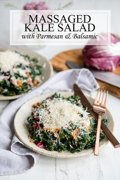 Healthy Easy #Kale #Salad #Recipe with Prosciutto, Parmesan and Balsamic Vinegar