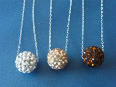 Shamballa, Crystal Pave Bead, on Sterling Silver Chain, Necklaces! White, Champagne, Cognac, Minimalist, Women's Pendant, Mother's Day Gifts