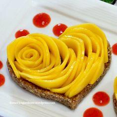 No-bake crust heart-shaped mango rose tarts #Valentines