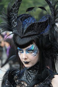 Goth Girl in Hat, via Flickr.  WAVE GOTIK TREFFEN Love this make-up!