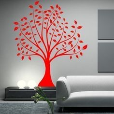 6 Foot Tall Large Leafed Tree Vinyl Wall Decal Sticker