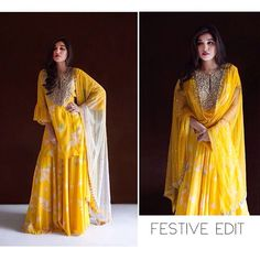 The all Yellow printed Sharara set along with a shaded dupatta #arpitamehta #festiveedit