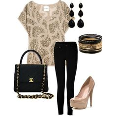 Date night, or out with the girls outfit. Really adorable but my thick legs can't pull off skinny jeans!!