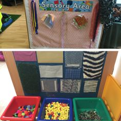 Sensory area. Set up for children to explore different textures.