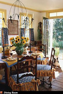french country dining... very traditional frenchg color combination, blue and yellow!! and of course theeee most fab Sunflowers in the center of table!!!!!!!!!