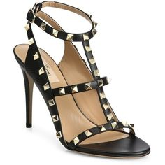 Valentino Rockstud Leather T-Strap Sandals ($1,140) ❤ liked on Polyvore featuring shoes, sandals, apparel & accessories, ankle wrap shoes, open toe shoes, ankle strap sandals, open toe sandals and t bar shoes
