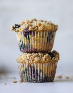 bursting blueberry coffee cake muffins from @howsweeteats