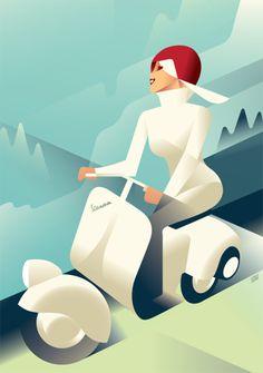 'Vespa'. Giclée Art Print by Mads Berg