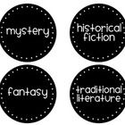 Black and White Circle Classroom Library Labels