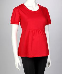 Red Maternity Short-Sleeve Tee by Dynabelly on #zulily