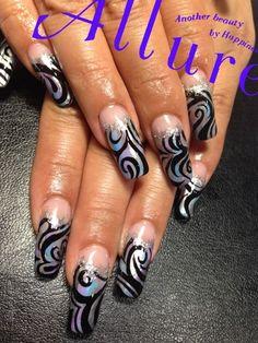 Pearl & black nail art design