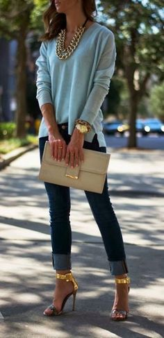 Blue blouse jeans beige purse. Golden color massive necklace. Summer street style women fashion clothing @roressclothes apparel closet ideas ladies outfit