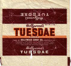 1950s Tuesdae Candy Wrapper
