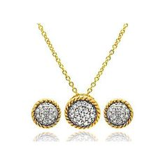 .925 Sterling Silver Gold & Rhodium Plated Round Cubic Zirconia Inlay Stud Earring & Necklace Set