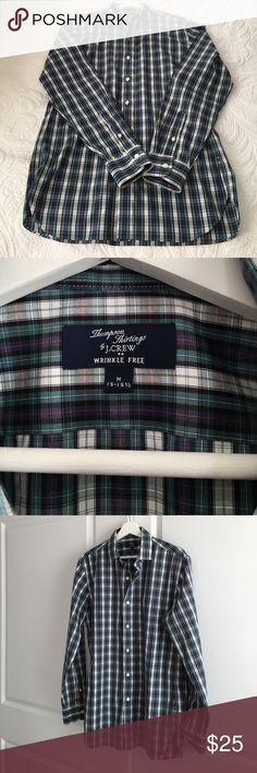 J.Crew Plaid Button Down Dress Shirt M 15-15 1/2. J.Crew Wrinkle Free Plaid Dress Shirt. Like New condition. M 15/15 1/2. Great pattern & fabric. Bundle it to save even more! J. Crew Shirts Dress Shirts