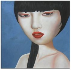 Girl With Red Lipstick II - Oil Canvas - 100 x 100cm