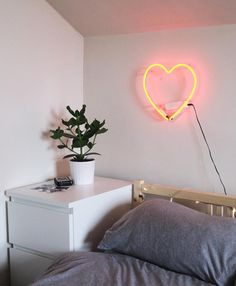 Bedroom Ikea Malm White Neon Sings Heart Urban Outfitters