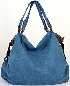 1575d0d1d73 CLELO B544 Women s Hobo Style Canvas Genuine Leather Tote Handbag Shoulder  Bag List Price   93.98