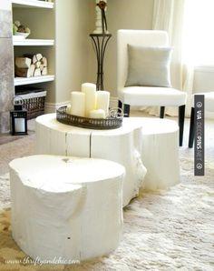 diy tree stump coffee table- very modern painted white Tree Stump Coffee Table, Diy Coffee Table, Trunk Table, Log Table, Table Seating, Rustic Furniture, Diy Furniture, Painted Furniture, Painted Wood