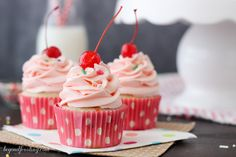 These Cherry Almond Funfetti Cupcakes are a classic buttermilk almond funfetti cupcake with a maraschino cherry frosting.