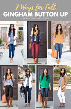 Outfits for Fall With Navy Gingham Button Up