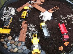 construction tray with diggers and dumpers (small world tray / play)