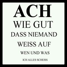 Oh how good that no one knows, who and what I scold .- ach wie gut dass niemand weiss, auf wen und was ich alles scheiss ;)): oh how good that nobody knows who and what I shit everything; Health Quotes, True Words, Slogan, Decir No, Quotations, Funny Quotes, Quotes Quotes, Wisdom, Positivity