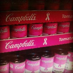 #ShareIG #Colopink #campbellssoup #cans.#Food #soup #breastcarecer #bows #soupcans #white #pinkcans #cans #tomatosoup #tomatoes.This so cool.#Spring color #summer color.#Pinknotebook #pinkfashionposts #pinkfashion115.#Lovepink #victoriassecretpink #Victoriassecret.
