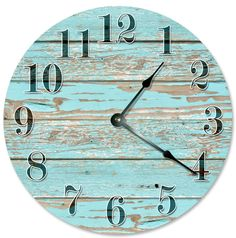 "OLD BLUE WORN Wood Clock - Large 10.5"" Wall Clock - 2112 by PrintTypes on Etsy https://www.etsy.com/listing/481648332/old-blue-worn-wood-clock-large-105-wall"