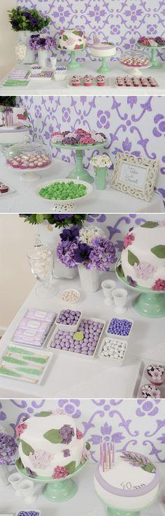 Hydrangea sweets table - Hydrangea cake and cupcakes