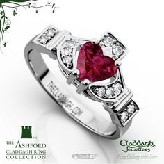 The Ashford Claddagh Ring in 14kt White Gold & Ruby #claddagh #ruby #engagement
