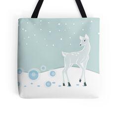 Snowy Deer Tote Bag #deer #christmas #holidays #animals #snow