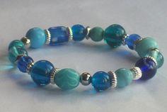 Blue Lampwork Bracelet OOAK Bracelet by Michelleshandcrafted, £15.00