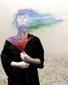 asylum-art: Aliza Razell :Her Photos Are Moody, Her Paintings. Mixed Media Photography, Art Photography, Kunst Portfolio, World Press Photo, Dada Art, Eye Painting, Surrealism Photography, Soul Art, Gcse Art