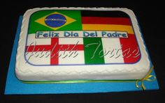 "Torta  decorada con fondant ""Banderas Mundial Brasil 2014"""