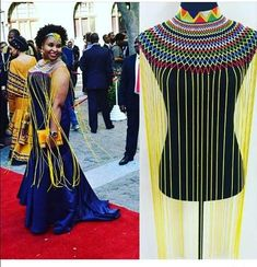 Dazzle in this handmade Zulu statement necklace. Its very light weight and handmade each bead handpicked and weaved on. African Wedding Attire, African Attire, African Wear, African Fashion Dresses, African Dress, African Outfits, African Accessories, African Jewelry, African Necklace