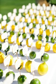 Limes and lemons holding place cards