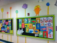 This would be a fun display around Dr. Seuss's birthday. Love the trees behind!