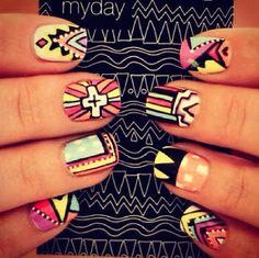 Pop Art Aztec Nails.. obsessed!