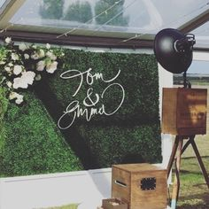 L♡VE this pic of our customised hedge walls with flowers and personalised timber names for @emmaclapham and @tomhawkins_  beautiful wedding over the weekend @mossindustry @sketchandetchcreative @shutterhubphotobooths @leafydesignco