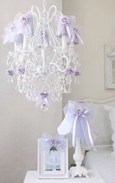 How pretty is this purple chandelier?!