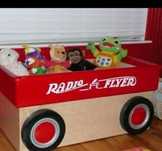 Custom Made Red Wagon Toy Box by Cripple Creek Woodworks